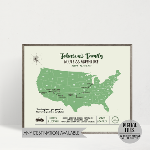 usa road trip map-personalized travel map-custom map