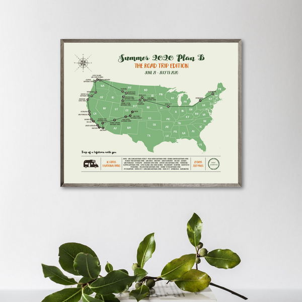 usa travel map print-gift for traveler-custom travel map