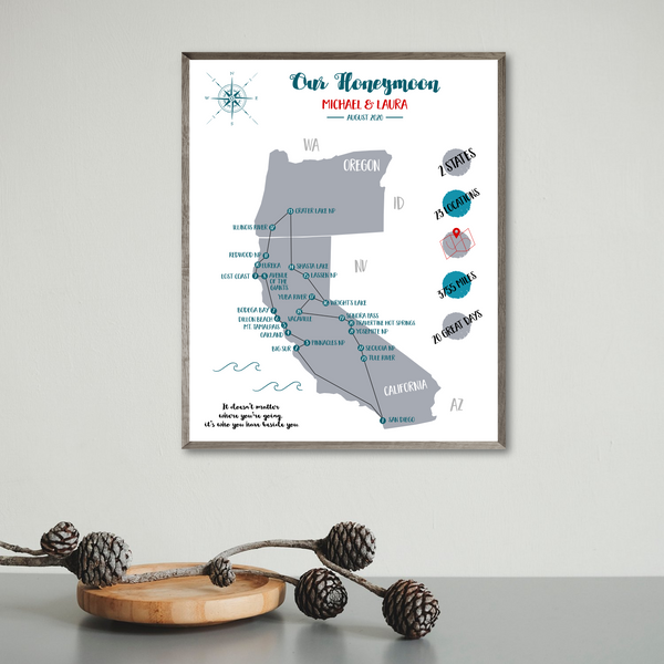 personalized travel map-custom map-custom trimp map-california travel map