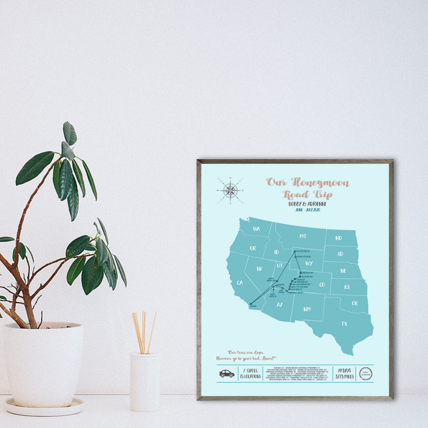 usa road trip map-personalized map-custom map-personalized gift