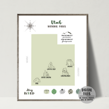 Utah national parks map-utah travel map