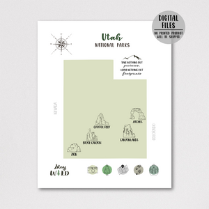 Utah national parks map-hiker gift
