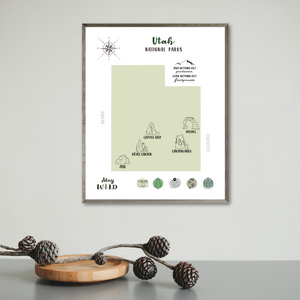 Utah national parks map-adventure gift-travel gift