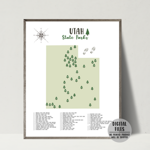 utah state parks map-gift for hiker