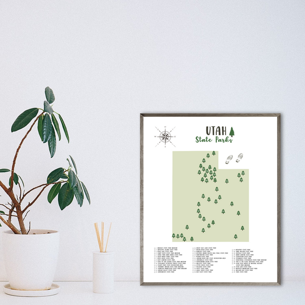 utah state parks map print-gift for him-gift for her