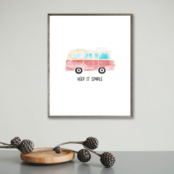 van poster-adventure print-keep it simple-quote print