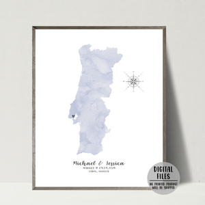 personalized wedding map print-wedding location map gift