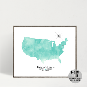 personalized engagement map gift-watercolor map print