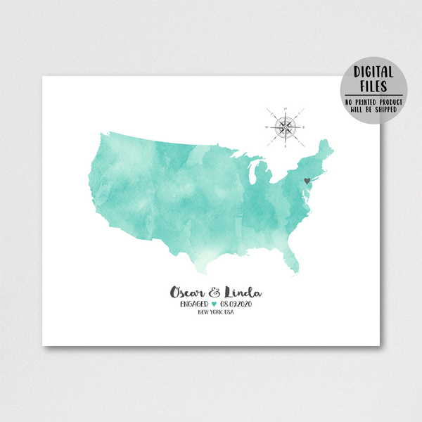 personalized engagement location map print-gift for couple