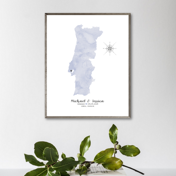 watercolor map-personalized wedding map print