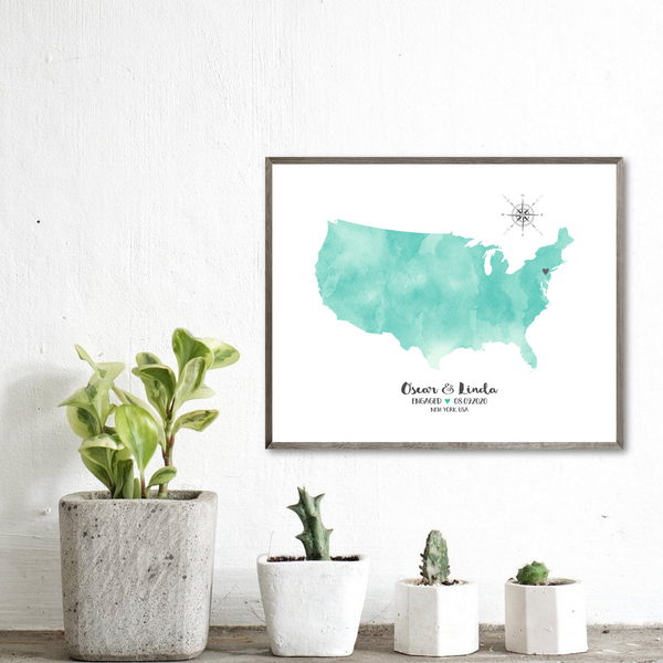 personalized engagement map-watercolor map gift