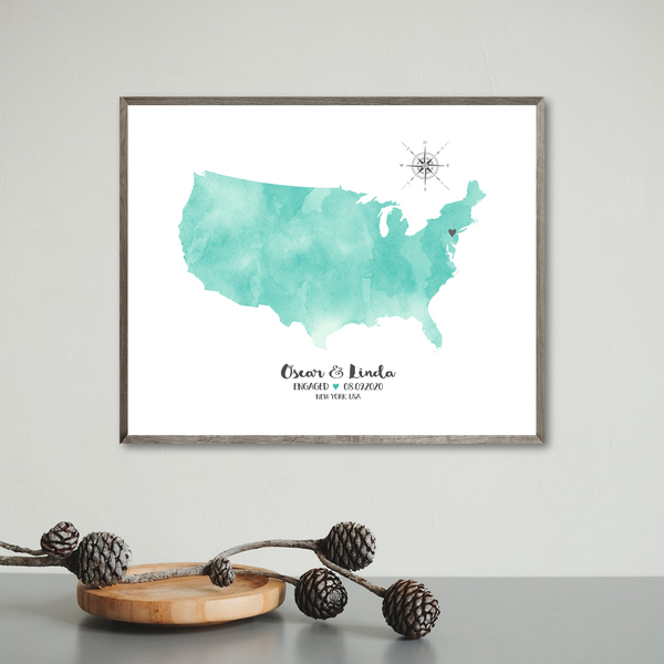 personalized engagement map print-special occasion map gift