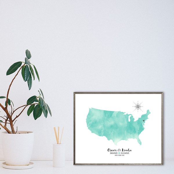 personalized engagement map-anniversary gift for her-gift for him