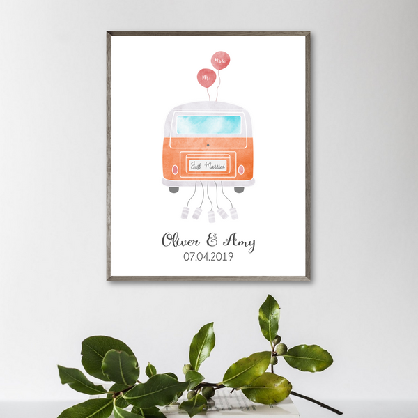 personalized just married van print-wedding gift for van couple