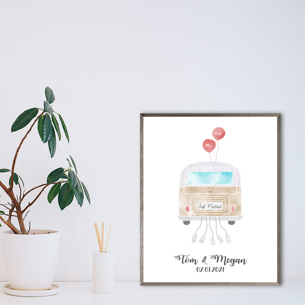 just married print-personalized van poster-wedding gift for vanlifer