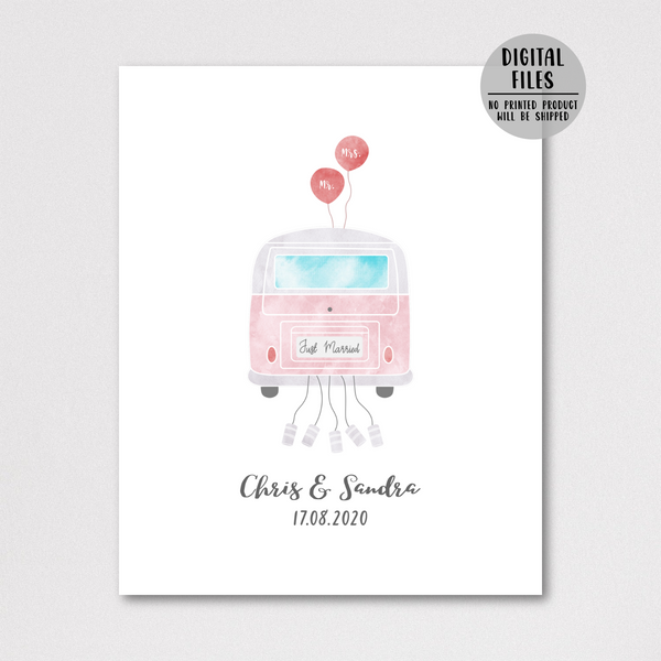 personalized wedding gift for couple-just married van poster