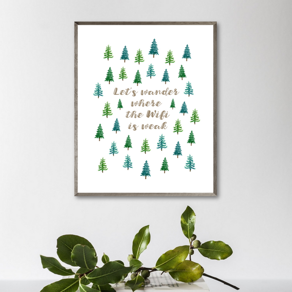 wifi poster-fir trees print-van decor ideas-home decor