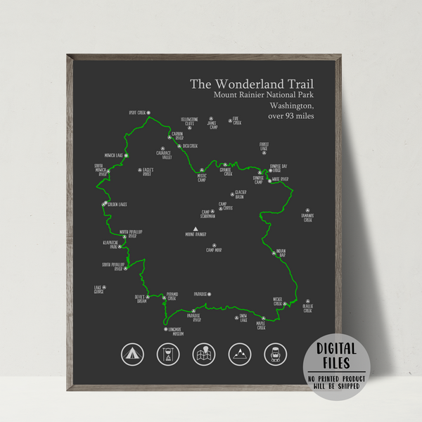 wonderland trail hiking map-wonderland trail map print