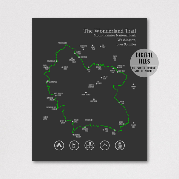 wonderland trail map poster-hiking gift ideas-hiking trail map print