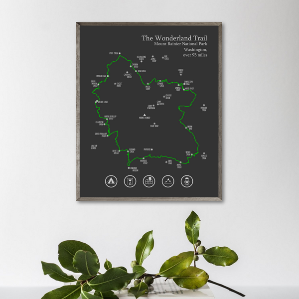 wonderland trail map print-gift for hiker