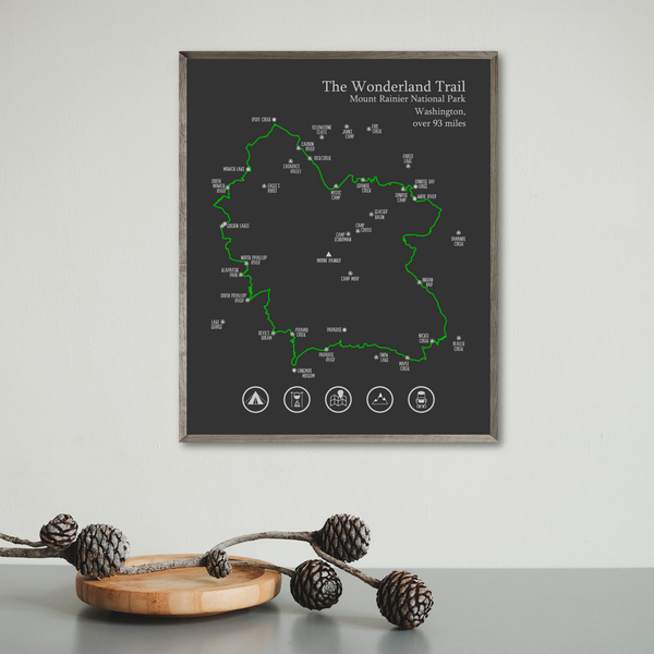 wonderland trail map print-gift for adveturer-wonderland trail hiking map