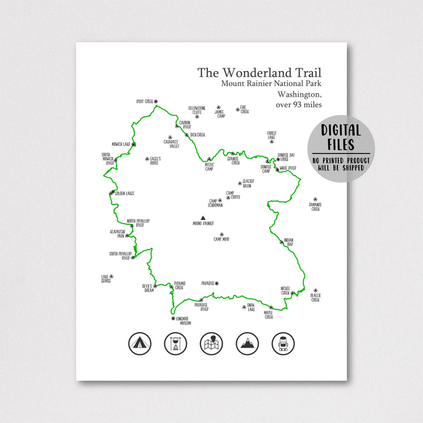 wonderland trail map-mount rainier national park print
