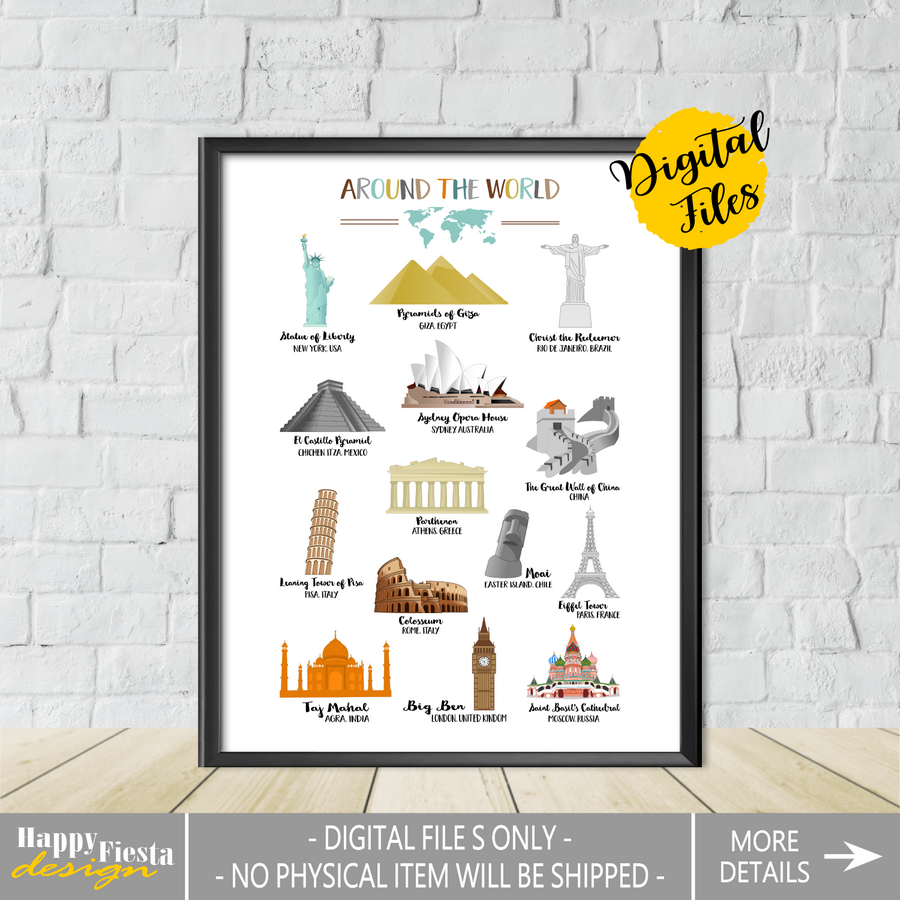 Printable World Landmarks Poster-Travel Print