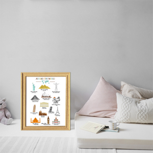 Kids room decor-travel print-world landmarks poster