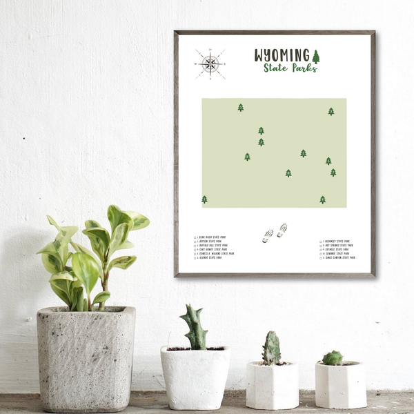 wyoming state parks map poster-travel map gift ideas