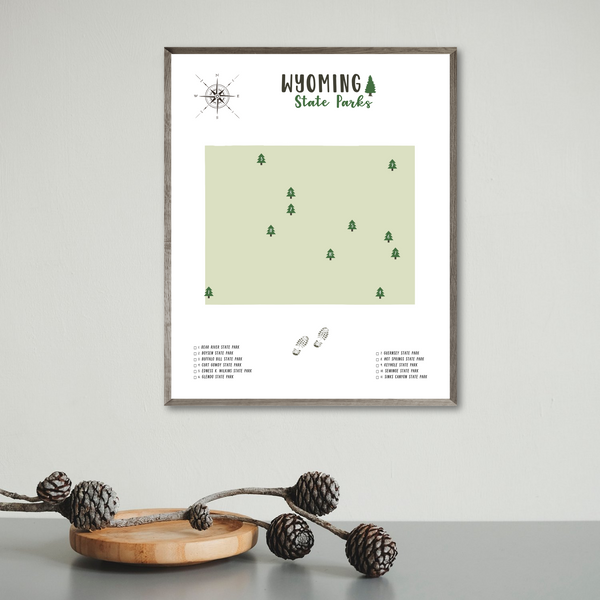 wyoming state parks map print-hiker gift map print