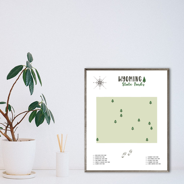 wyoming state parks map print-gift for adventurer