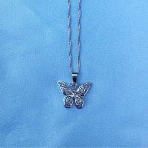 SILVER BUTTERFLY DOUBLE NECKLACE