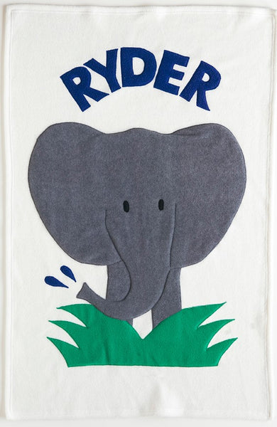 Personalized Elephant Baby Blanket- Boy