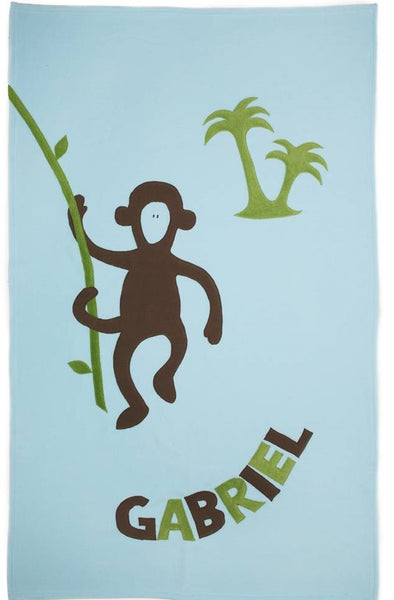 Personalized Monkey Kids Blanket - Blue