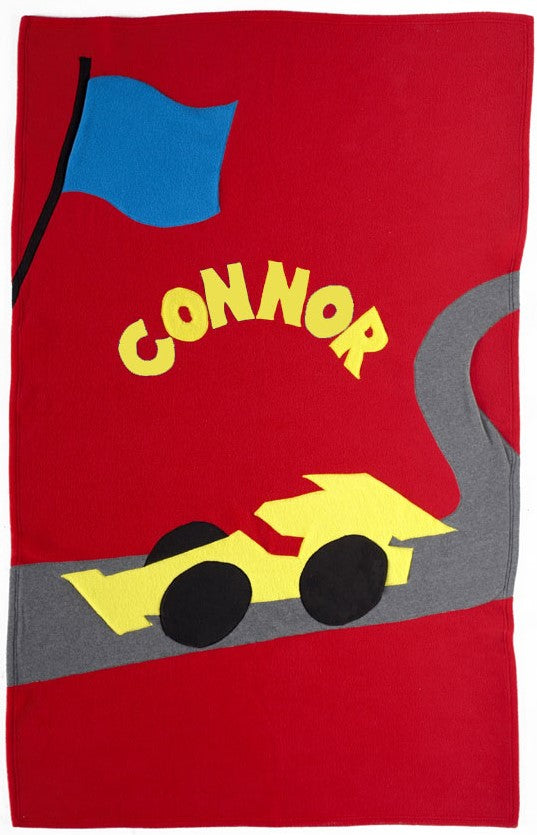 Personalized Racecar Kids Blanket
