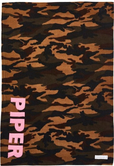 Personalized Straight Up Baby Blanket- Camo with pink letters