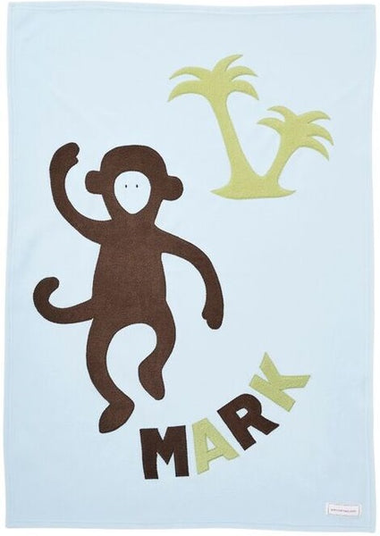 Personalized Monkey Baby Blanket- Blue