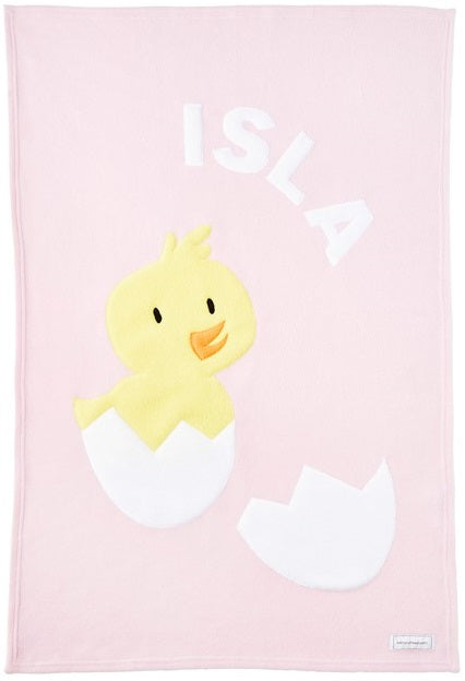 Personalized Duck Baby Blanket- Pink