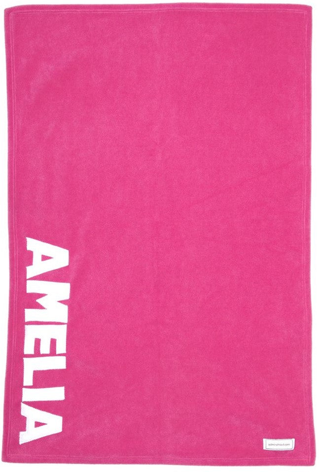 Personalized Straight Up Baby Blanket- Pink