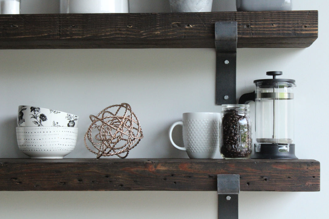 Reclaimed Barn Wood Chunky Wide Plank Shelves | Full Brackets