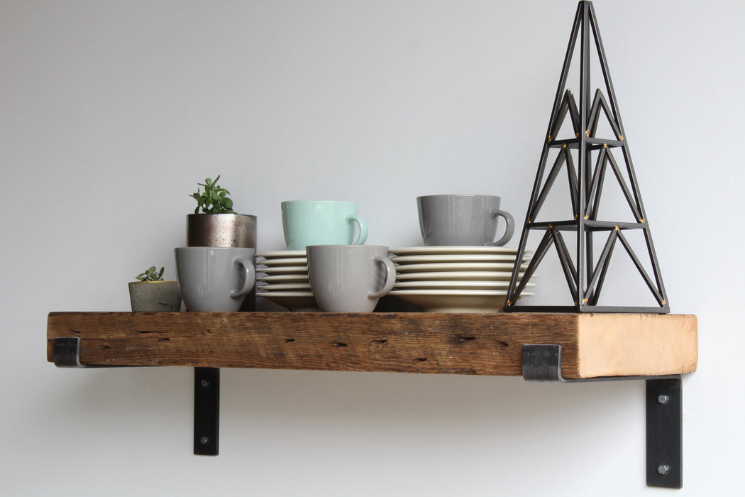 Reclaimed Barn Wood Chunky Deep Shelves | Full Brackets