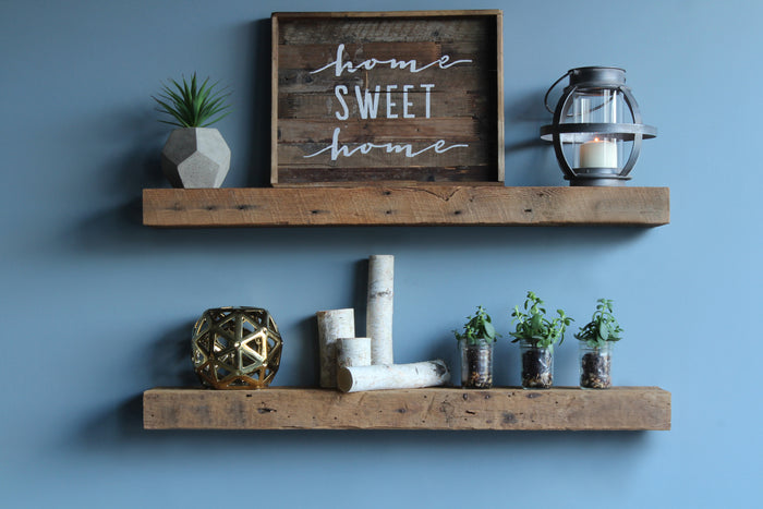 Reclaimed Barn Wood Chunky Floating Shelves