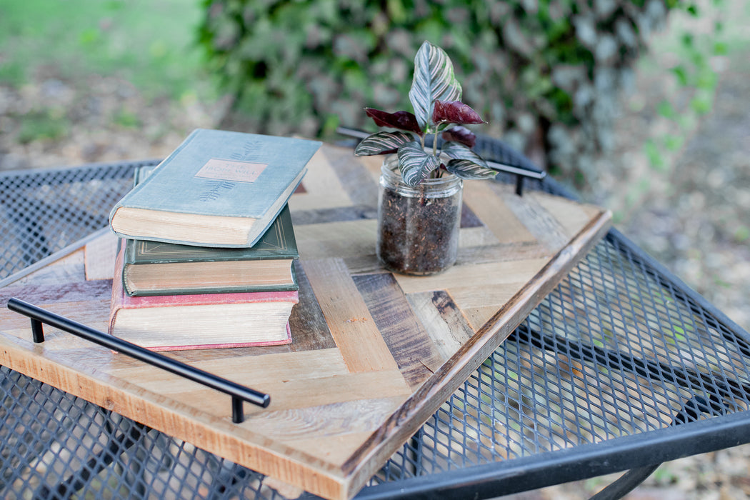 Reclaimed Wood Ottoman Serving Tray with Handles | Rectangle | Herringbone Pattern