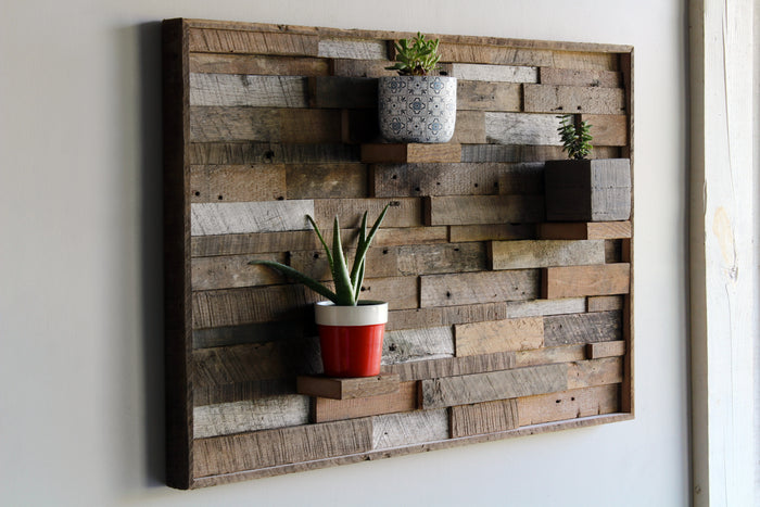 Reclaimed Barn Wood Wall Art | Succulent Shelf