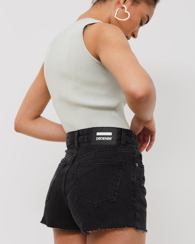 Kurze High-Waist Jeans Shorts - Broke + Schön#farbe_charcoal-black