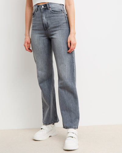 High-Waist Straight Leg Jeans - Broke + Schön#farbe_washed-grey