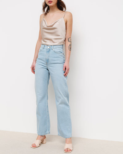 High-Waist Straight Leg Jeans - Broke + Schön#farbe_superlight-blue