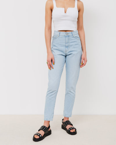 High-Waist Jeans im Mom-Style - Broke + Schön#farbe_superlight-blue