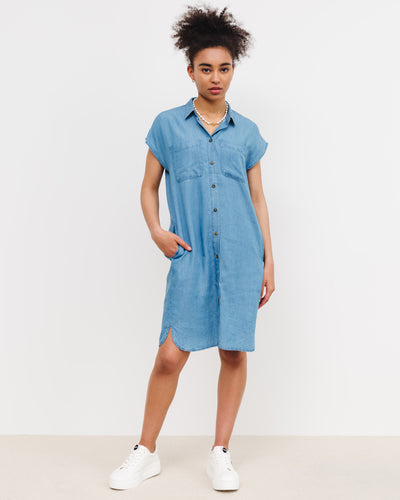 Lockeres Jeans Hemdkleid - Broke + Schön#farbe_medium-blue-denim