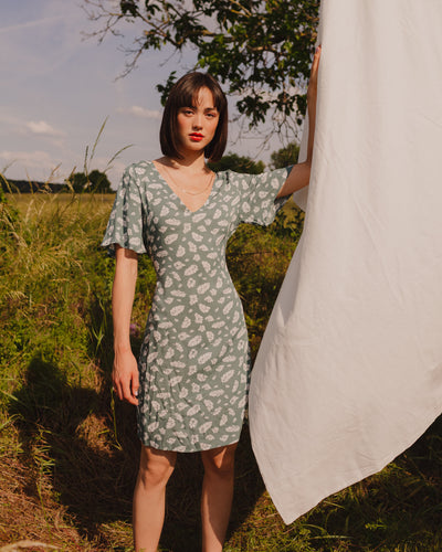 Tara Dress in mint/white leaf - Broke + Schön Shop
